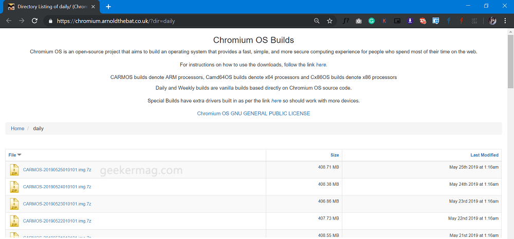 Download: The latest Chromium OS daily build from Arnold The Bat