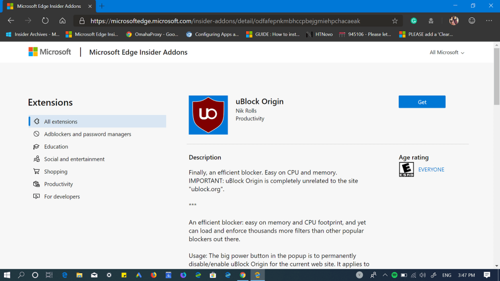 How to Download uBlock Origin Extension from Edge Add-Ons Store