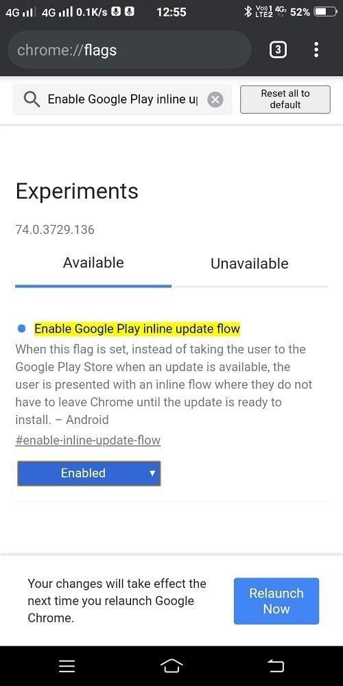 Enable Google Play Inline Update Flow