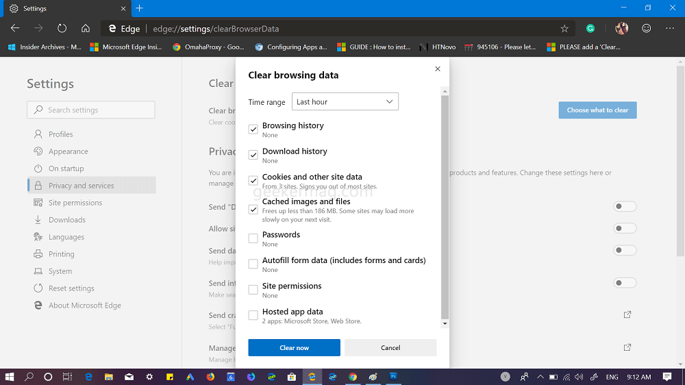 Microsoft edge new clear browsing data dialog box
