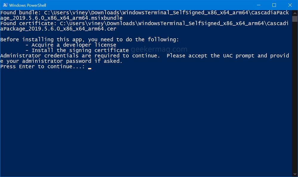 install windows terminal in windows 10