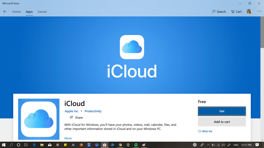 download icloud app for windows 10 desktop from Microsoft store