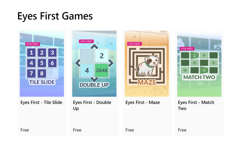 microsoft games that you can play with your eyes