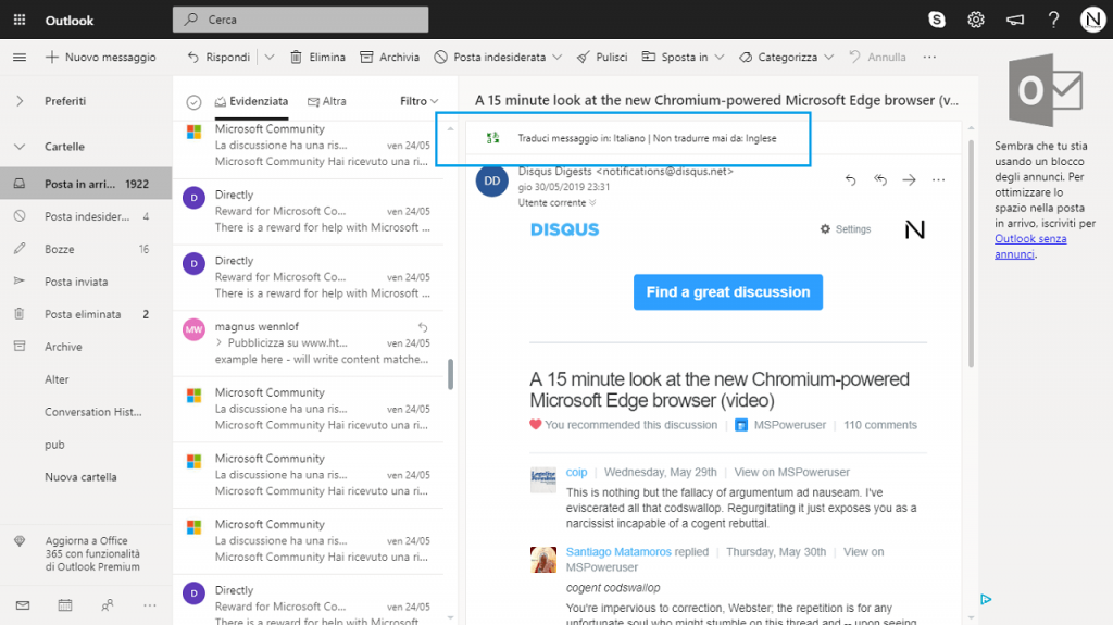 how to use outlook.com inbuilt translator