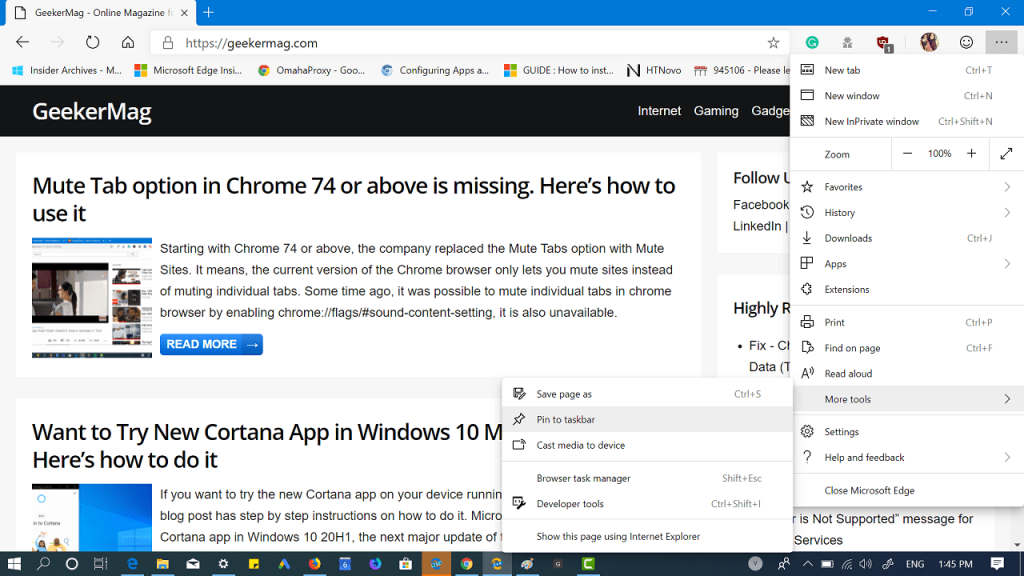 how to pin sites to windows 10 taskbar using microsoft edge chromium