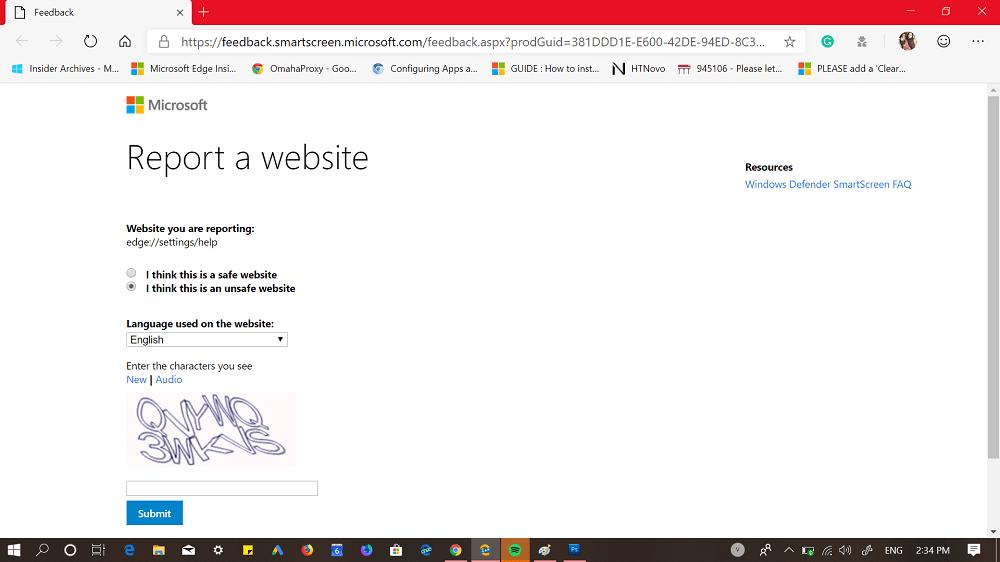 microsoft edge resport a website