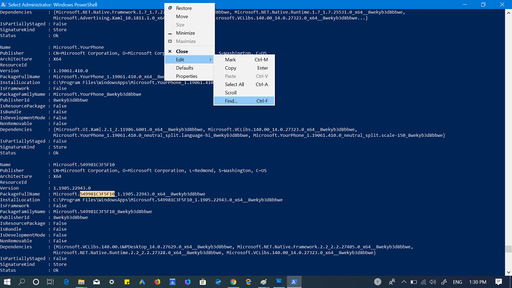 find package using windows powershell