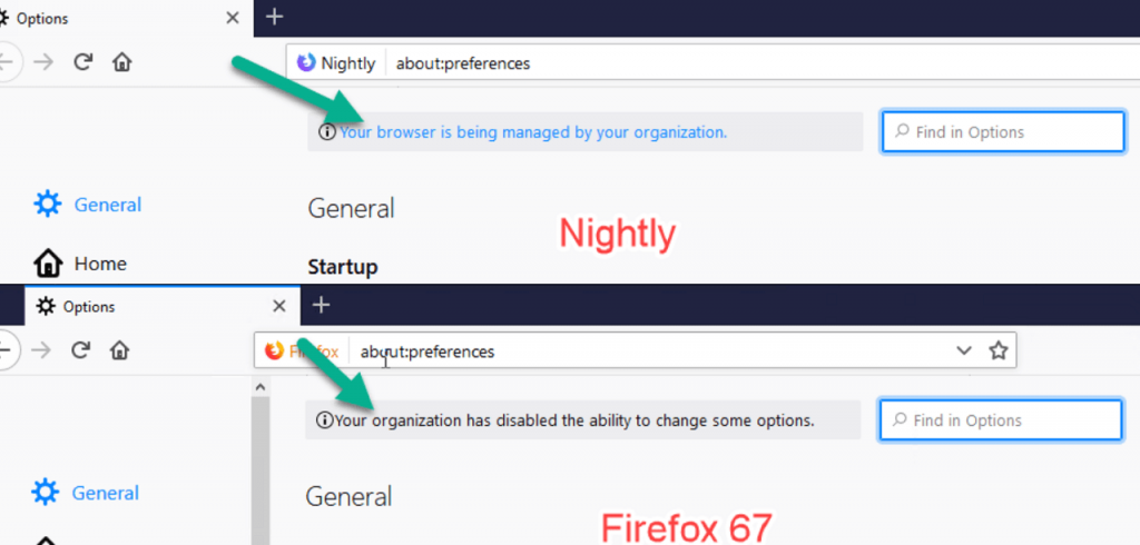 Your organization has disabled the ability to change some options