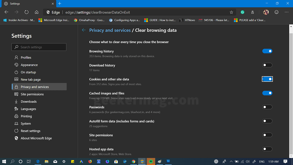 clear browsing data in chromium edge on exit