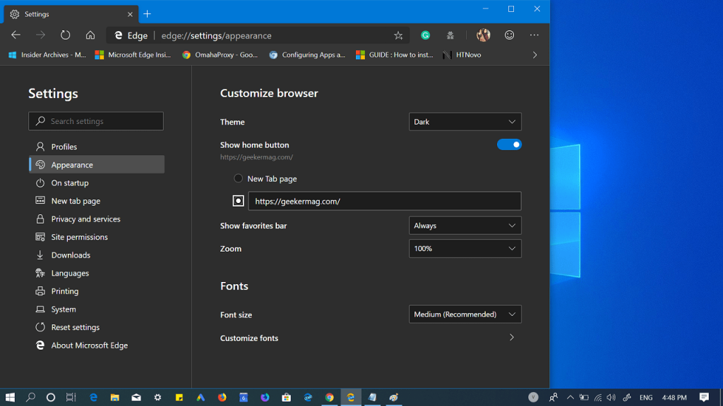 how to customize microsoft edge home button and add custome link to it