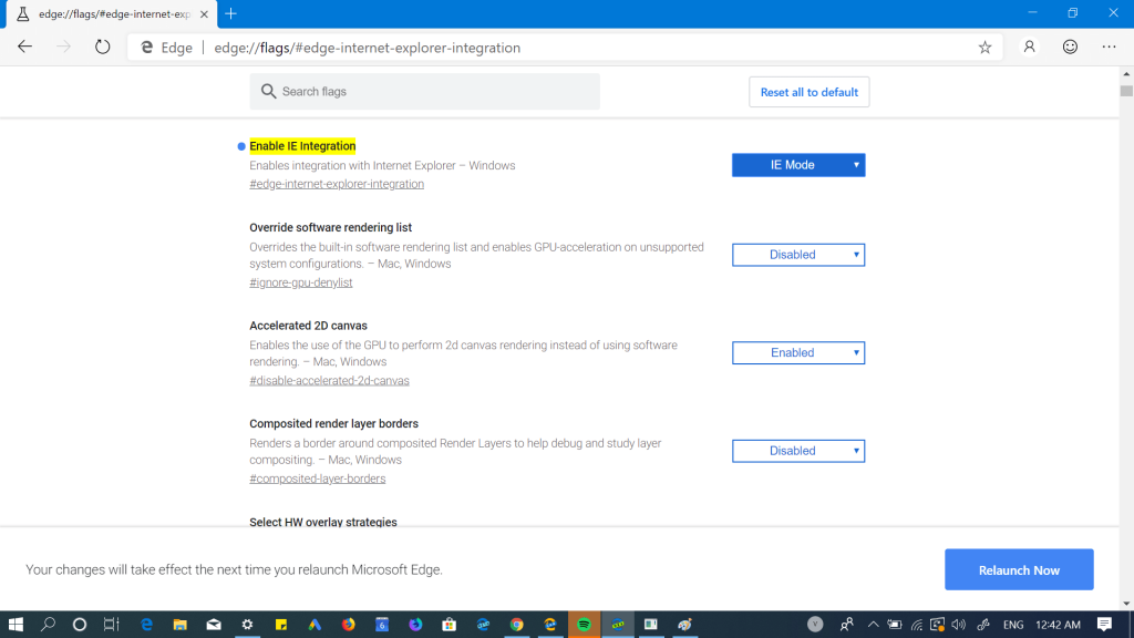 enable internet explorer integration in edge browser