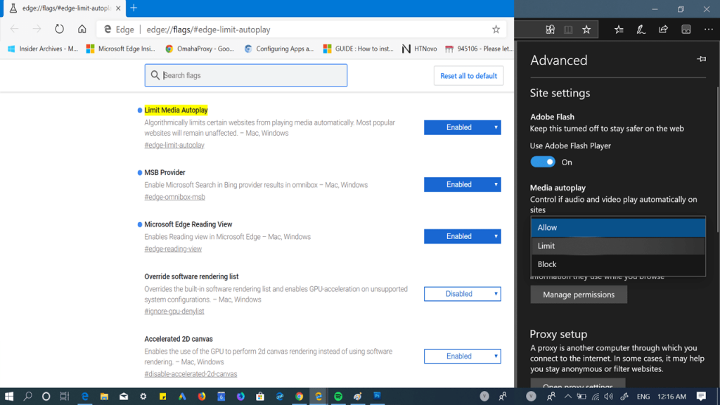 How to block content autoplay on sites in edge browser