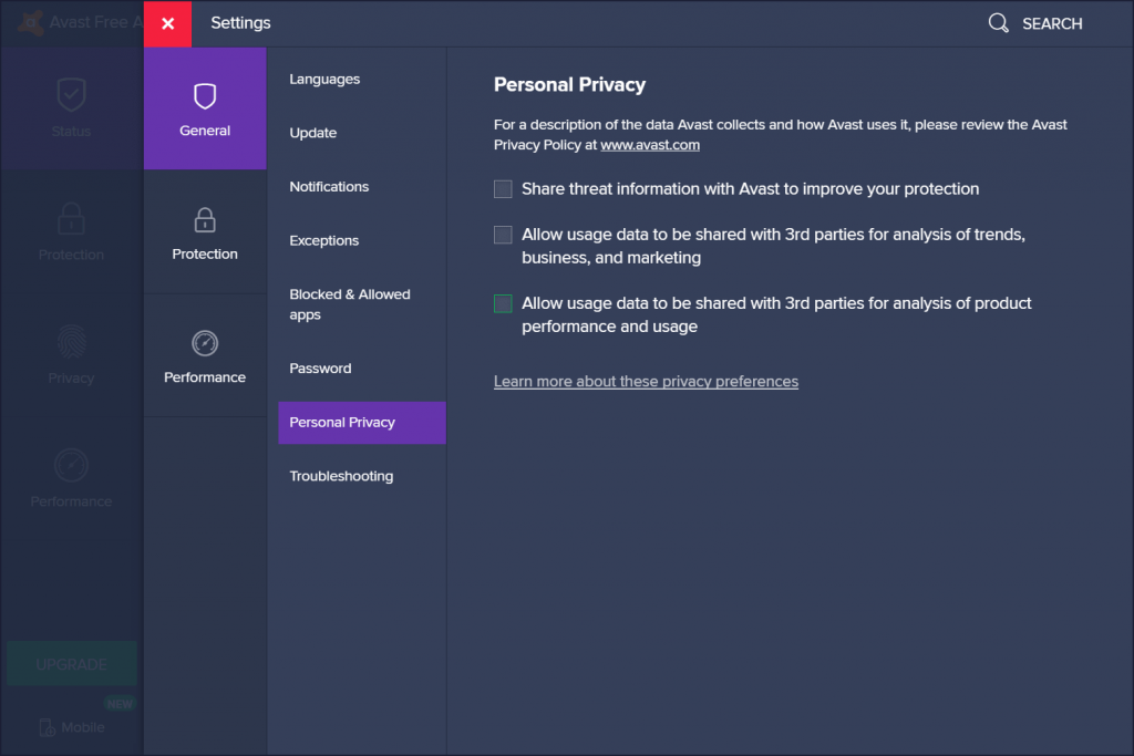 avast free antivirus privacy settings