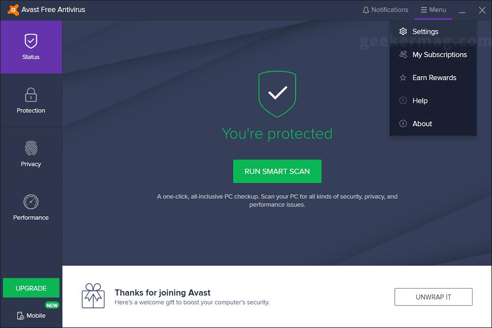 avast free antivirus settings