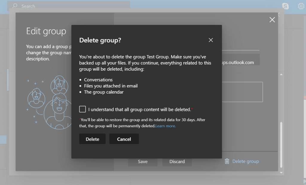 delete outlook group