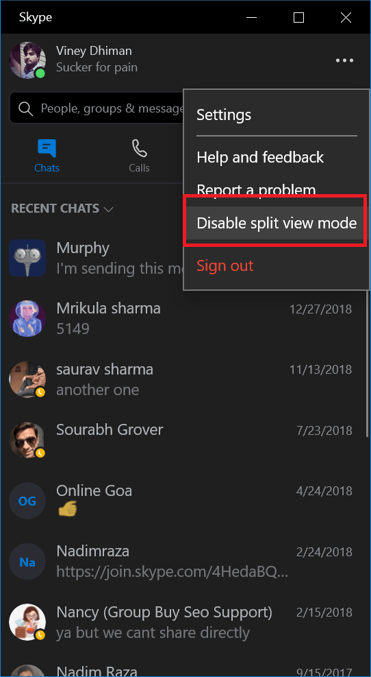 how to disable split view mode