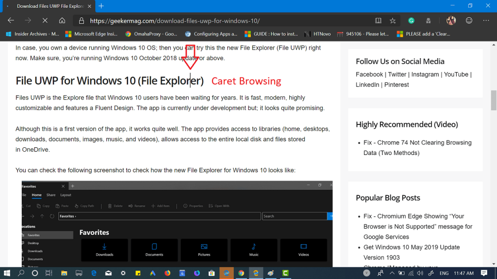 Enable Caret Browsing in Microsoft Edge Chromium