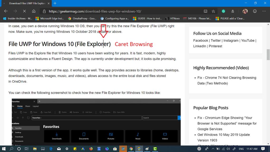 Enable Caret Browsing in Microsoft Edge Chromium