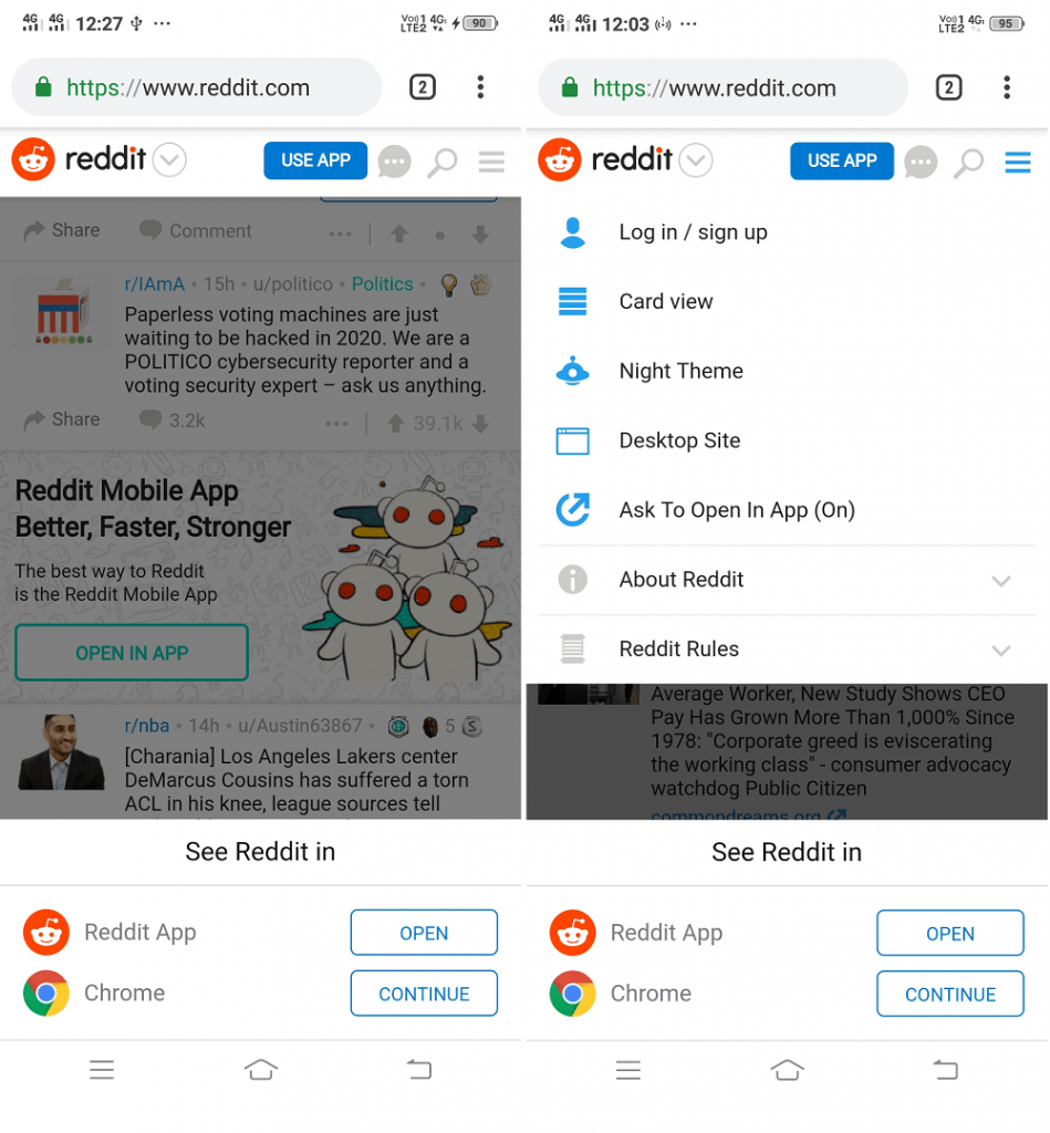 Directly Open Reddit website without seeing iOS / Android