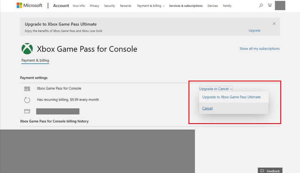 upgrade and cancel xbox game pass for console