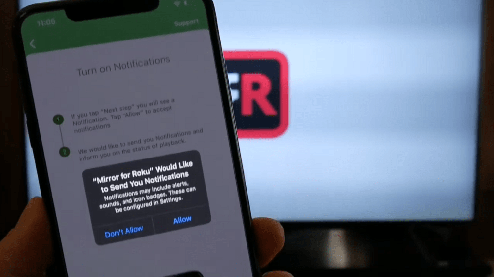 allow notifications - mirror for roku app