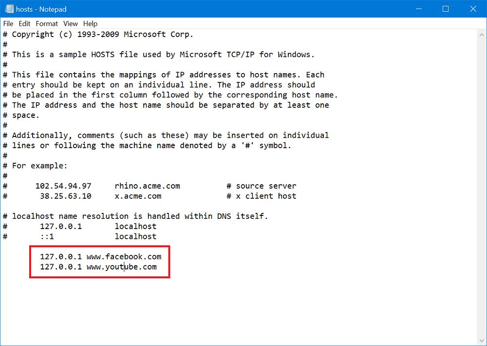 modify hosts file
