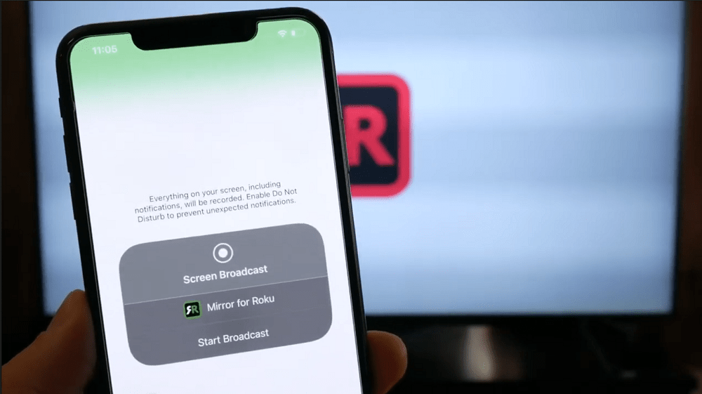 Start broadcast - Mirror for roku app