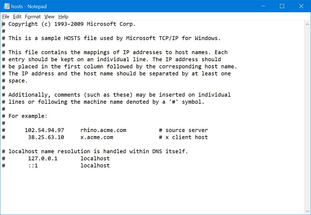 windows 10 host files