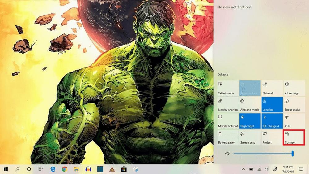 windows 10 notification menu connect