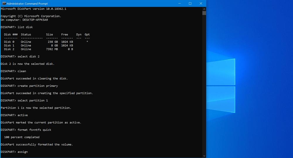 create windows 10 bootable usb commands