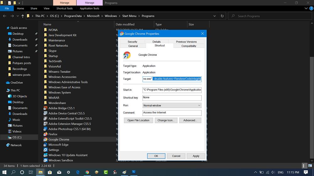 chrome browser shortcut location