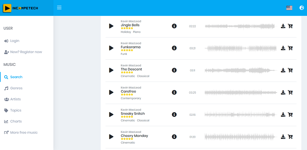 incompetech - best sites to download free mixtapes