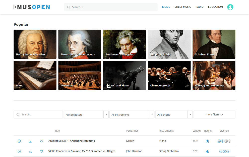 musopen - best sites to download english songs free