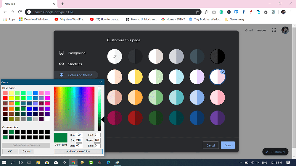 color and theme chrome