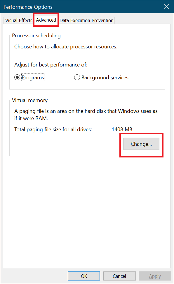 performance options advanced tab windows 10