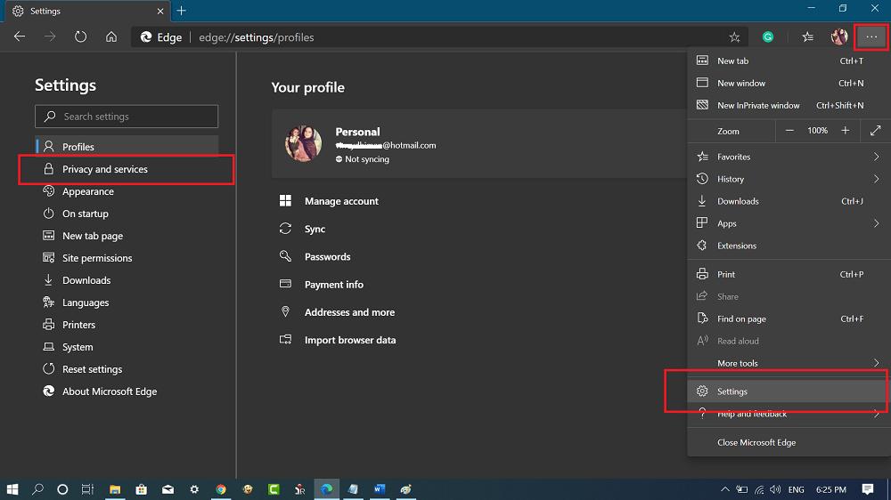 Edge Chromium settings and more option