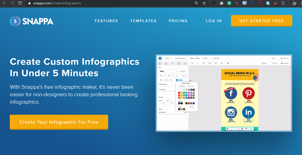 use Snappa's free infographic maker to create professional looking infographics.