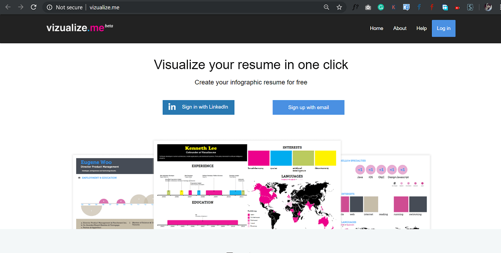visualize.me - create your infographic resume for free