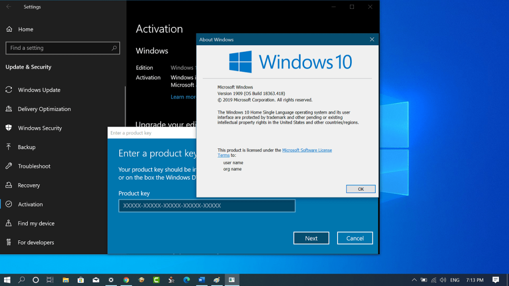 Generic product keys for installing Windows 10 Version 1909