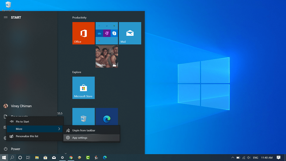get access to app settings for settings app in windows 10