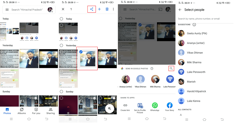 send message in google photos