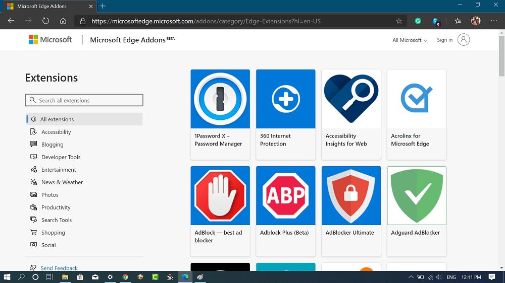 Microsoft Edge addons page