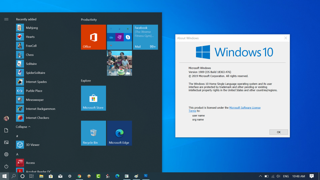 Get Windows 7 Games for Windows 10 November 2019 update version 1909