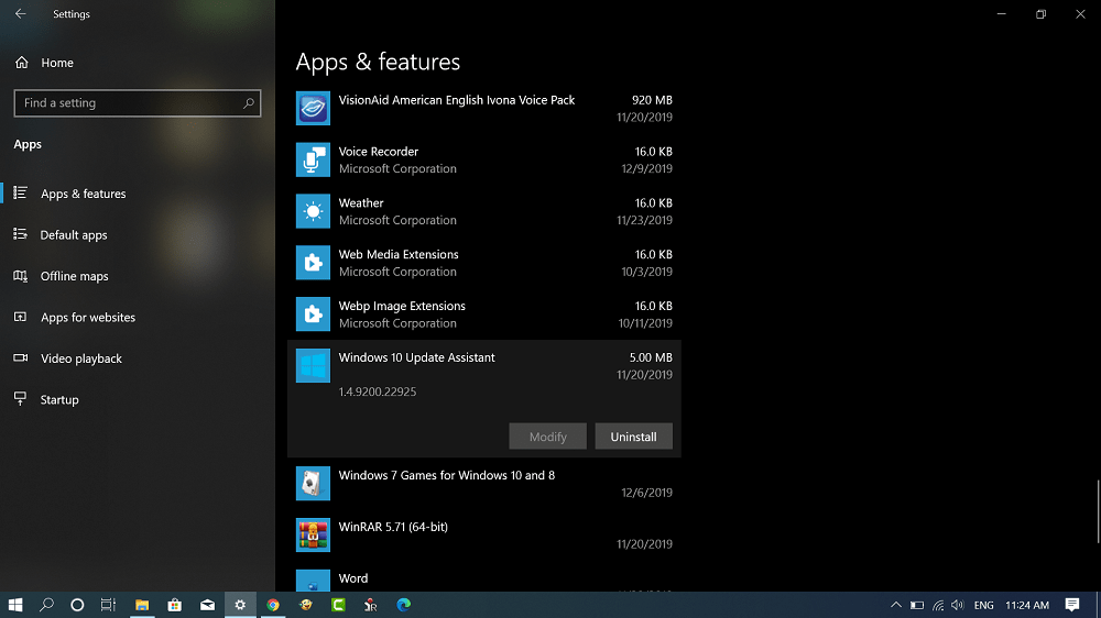 Uninstall Windows 10 Update Assistant in Windows 10