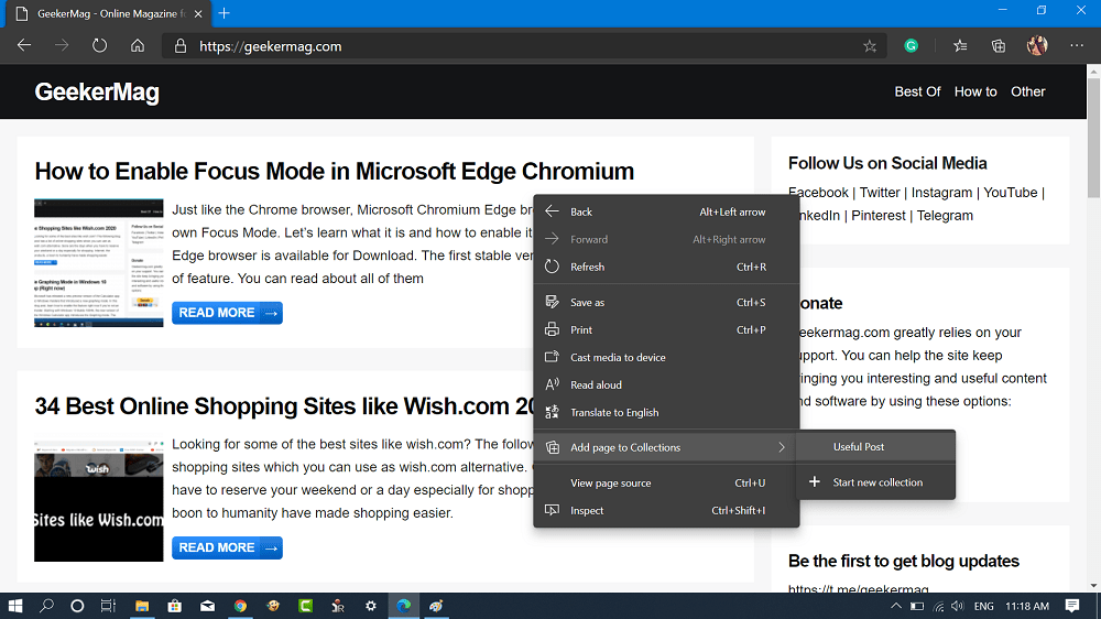 create collections using the Right-Click Context Menu in microsoft edge