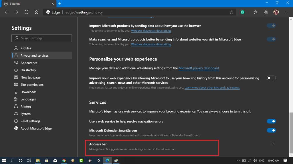 Microsoft Edge privacy - address bar settings
