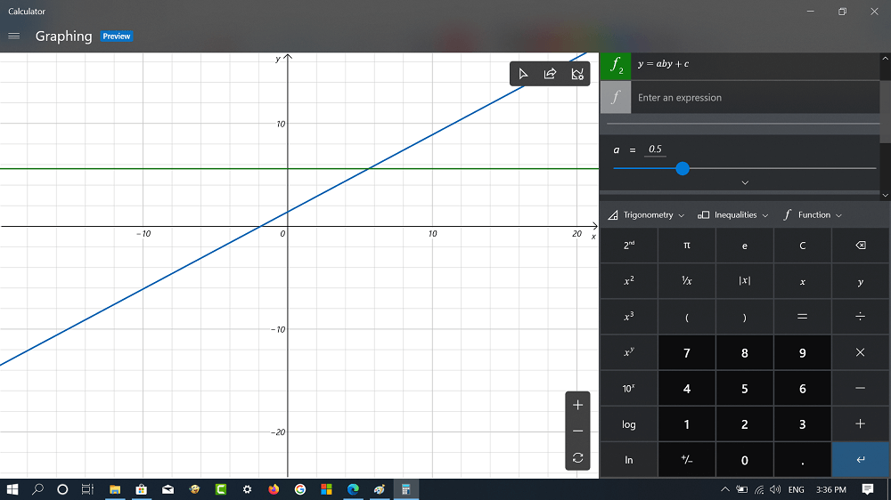 windows 10 calculator app graphic mode