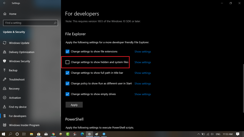 change settings to show hidden and system files in windows 10
