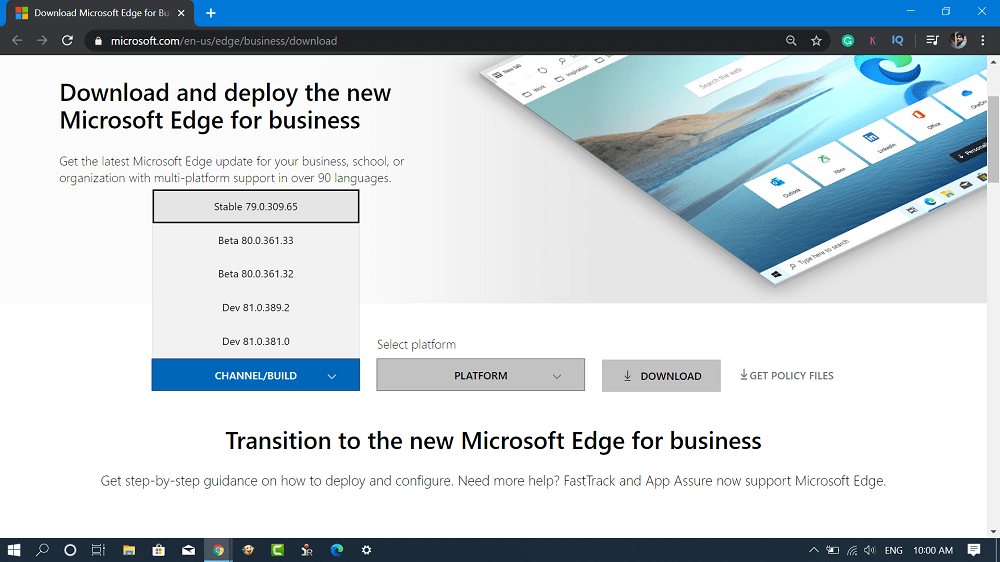 microsoft edge chromium channel