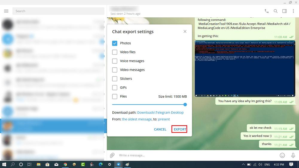 chat export settings in telegram